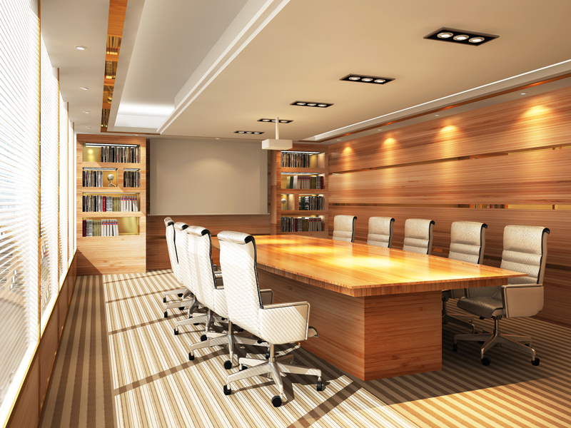 Control and automated lights in an office conference room